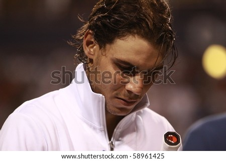 TORONTO- AUGUST 12: Rafael Nadal plays against Kevin Anderson  in the Rogers Cup 2010 on August 12, 2010 in Toronto, Canada. - stock photo