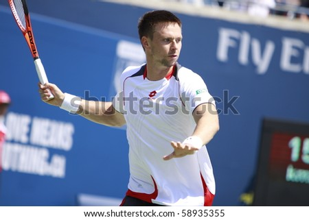 TORONTO: AUGUST 12. Robin Soderling plays against David Nalbandian  in the Rogers Cup 2010 on August 12, 2010 in Toronto, Canada.