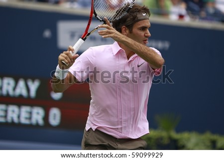 TORONTO: AUGUST 15.Roger Federer plays against Andy Murray  in the Rogers Cup 2010 finals on August 15, 2010 in Toronto, Canada. - stock photo