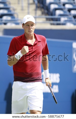 TORONTO: AUGUST 10. Tomas Berdych plays against Sergiy Stakhovskyin the Rogers Cup 2010 on August 10, 2010 in Toronto, Canada. - stock photo