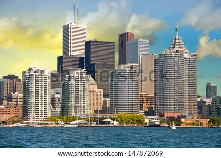 Toronto. Beautiful view of city skyline from Lake Ontario. - stock photo
