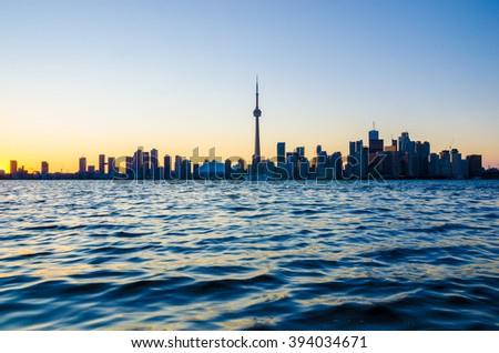 Toronto, CA, 1st July 2012. Toronto Skyline at Sunset from Toronto Islands - stock photo