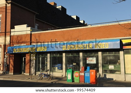 TORONTO, CANADA - APR 8: The Blockbuster store on Parliament Street remains vacant since Blockbuster Canada announced they would close all their stores by Dec 31, 2011.  Apr 8, 2012 in Toronto. - stock photo