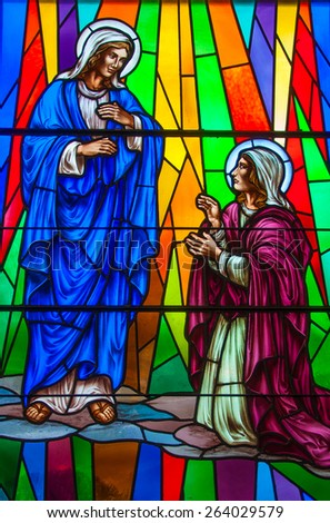 TORONTO,CANADA-APRIL 7,2013: Beautiful Christian stained glass in Annuciation Church which is a Christian congregation serving the Toronto community in a loving, friendly community that worships God. - stock photo