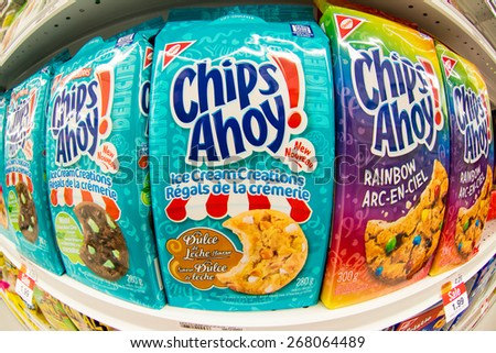 TORONTO,CANADA-APRIL 4,2015: Christie Chips Ahoy cookies in a store shelf. Christie brand belongs to Nabisco which is an American manufacturer of cookies and snacks.