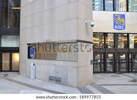 Toronto, Canada - April 27, 2014:  Front of the Royal Bank of Canada's building located in the Financial District of Toronto. RBC is one of the major and leading banking institutions of Canada. - stock photo