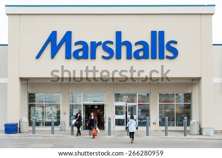 TORONTO,CANADA-APRIL 2,2015:Marshalls, Inc. is a chain of American off-price department stores owned by TJX Companies. Marshalls has over 750 conventional stores and larger stores Marshalls Mega Store - stock photo