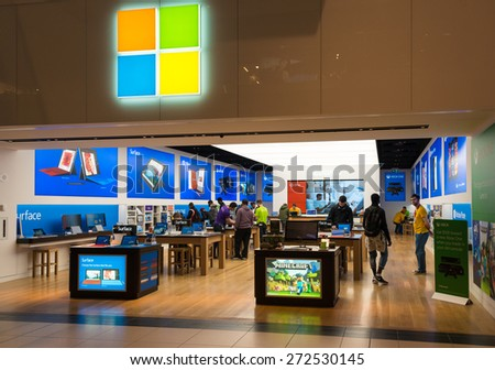 TORONTO,CANADA-APRIL 24,2015:Microsoft Corporation opens its first store in Toronto inside the Eaton Centre which is one of the largest malls in Canada - stock photo