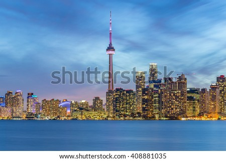 TORONTO, CANADA - APRIL 21, 2016:  Skyscrapers and high-rise buildings in Downtown Toronto  at twilight - stock photo