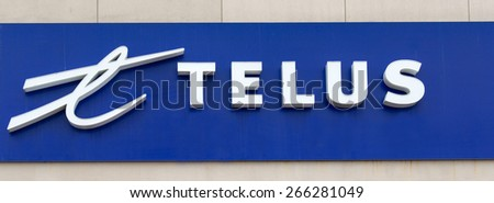TORONTO,CANADA-APRIL 2,2015: Telus is a Canadian national telecommunications company that provides a wide range of telecommunications products and services  - stock photo