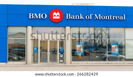 TORONTO,CANADA-APRIL 2,2015: The Bank of Montreal, or BMO Financial Group, is one of the Big Five banks in Canada. It is the fourth-largest bank in Canada by market capitalization and based on assets - stock photo