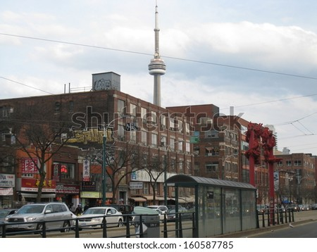 TORONTO, CANADA - APRIL 23: Tourist attraction and busy markets in Chinatown, one of the largest in North America, as seen on April 23, 2011, in Toronto Ontario, Canada. - stock photo