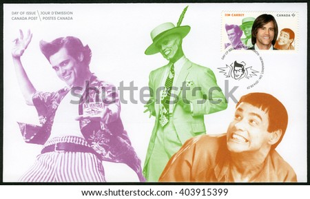 TORONTO, CANADA - AUGUST 29, 2014: A stamp printed in Canada shows James Eugene Jim Carrey (born 1962), actor, series Great Canadian Comedians - stock photo