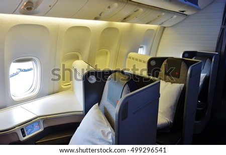 TORONTO, CANADA -14 AUGUST 2016- Business class seats inside a Boeing 777 from Air Canada (AC).
