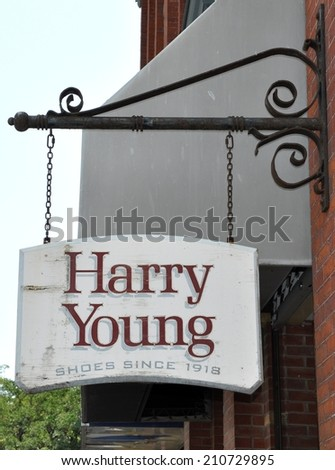 Toronto, Canada - August 3, 2014: Harry Young shop in downtown Toronto which caters for customers who are looking for fine footwear. - stock photo