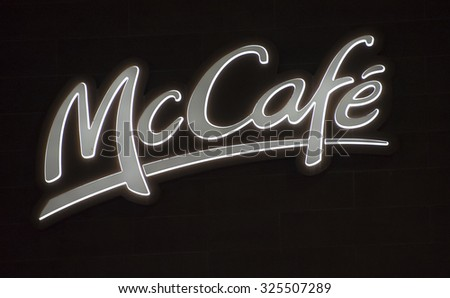 TORONTO,CANADA-AUGUST 12,2015: Signage of McCafe outside its restaurant in downtown Toronto. McCafe is a coffee-house-style food and drink chain, owned by McDonald's.
