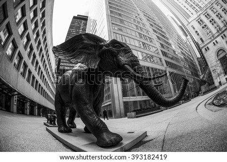 TORONTO CANADA 5.FEB. 2016: Bronze elephant sculptures in the Financial District in downtown Toronto, Ontario in Canada.