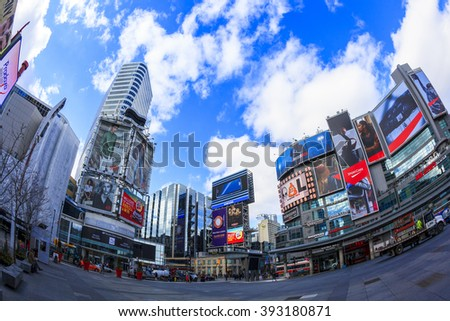 TORONTO CANADA 5.FEB. 2016: Low Angle  view of Toronto Downtown Core. Toronto is the most populous city in Canada and the provincial capital of Ontario. (GTA) which contains 6.2 million people. - stock photo