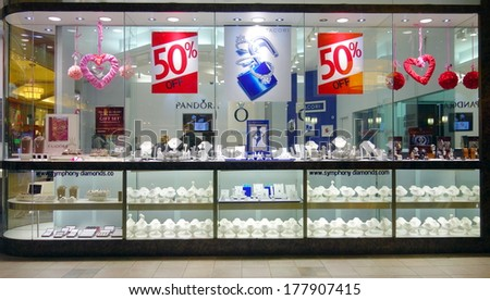 TORONTO, CANADA - FEBRUARY 11, 2014: A jewelry store window selection in a mall in Toronto, Canada.  - stock photo