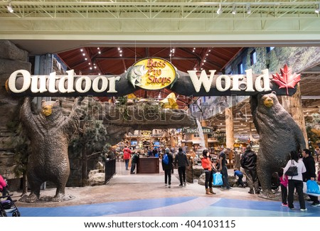 TORONTO,CANADA-FEBRUARY 8,2016: Bass Pro Shop Outdoor World: Entrance,  shops are a privately held retailer of hunting, fishing, camping and related outdoor recreation merchandise - stock photo