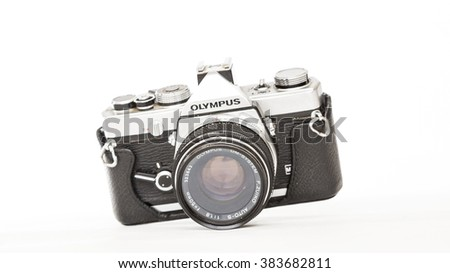 TORONTO, CANADA - FEBRUARY 17, 2016 : Olympus OM-1 35mm Film Camera Body Photography Gear in Bright Studio for Illustrative Editorial image - stock photo