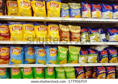 TORONTO, CANADA - FEBRUARY 11, 2014: Potato chips selection in a supermarket in Toronto, Canada.