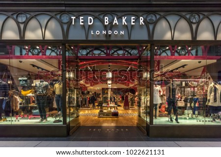 Toronto, Canada - February 10th, 2018: Ted Baker front in the Eaton Centre shopping mall in Toronto. Ted Baker plc is a British luxury clothing retail company