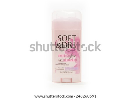TORONTO, CANADA - JANUARY 28, 2015 : Soft & Dri Brand of Women's Aluminum Free Deodorant shown on a bright background - stock photo