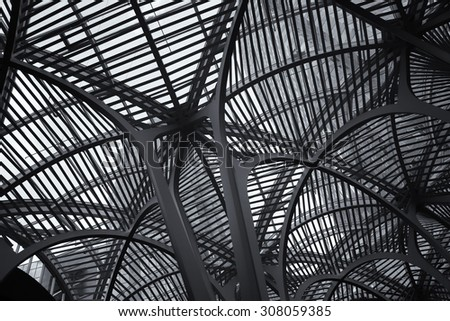 TORONTO, CANADA, JULY 10, 2015:  Architectural detail of Brookfield place.  Brookfield Place is also the home of the Hockey Hall of Fame and offices.  Black and white picture. - stock photo