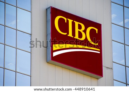 TORONTO,CANADA-JULY 1,2016: CIBC or Canadian Imperial Bank of Commerce red sign outside the building. The company is one of the Big Five banks in Canada.