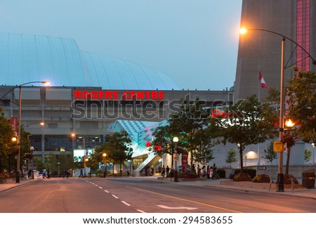 TORONTO,CANADA-JULY 5,2015: Rogers Centre is  is a multi-purpose stadium in downtown Toronto, Ontario, Canada situated just southwest of the CN Tower near the northern shore of Lake Ontario.  - stock photo