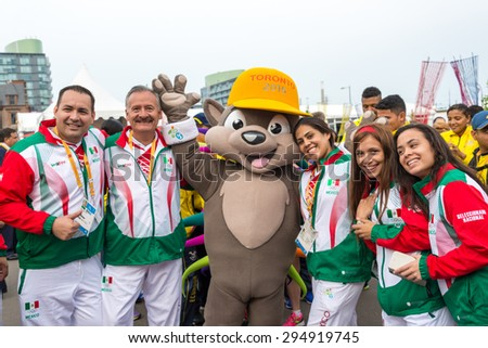 TORONTO,CANADA-JULY 8,2015:Toronto PanAm Games 2015: Welcoming ceremony of the Mexican delegation to the Athletes' Village