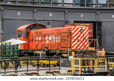 TORONTO, CANADA - JULY 23, 2014: Toronto Railway Museum includes historical locomotives and cars while presenting a history of railroad in Canada. Museum is a 17 acre park in former Railway Lands.