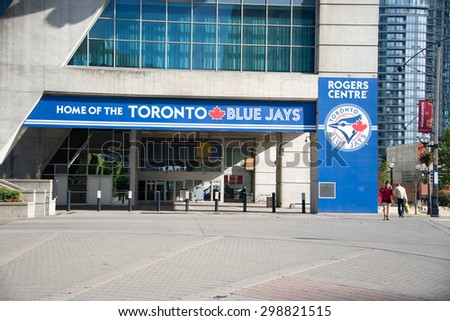TORONTO,CANADA-JUNE 15,2015:Outside the Rogers Centre before a Blue Jays baseball game  in Toronto, Canada. The Blue Jays were founded Toronto in 1977, initially owned by the Labatt Brewing Company.