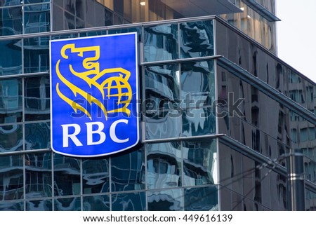 TORONTO,CANADA-JUNE 24,2016: RBC or Royal Bank sing logo in a modern downtown building inside the financial district