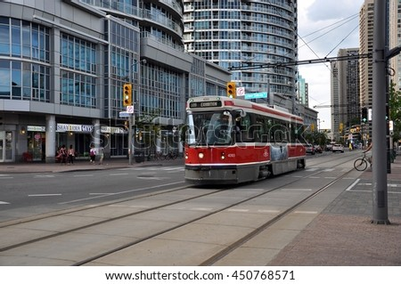 Toronto, Canada - June 28, 2016: Street car going to Exhibition Centre in Toronto.