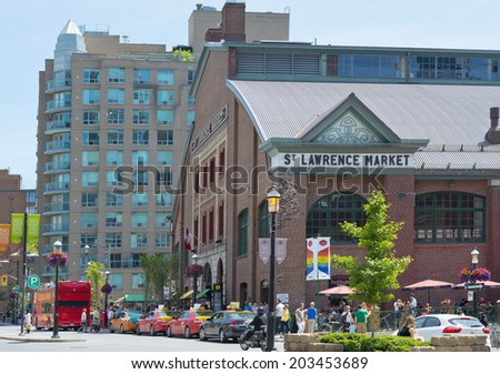 TORONTO - Canada. 21 June 2014.  The St. Lawrence Market in summer. St. Lawrence Market is the best in the world markets in Toronto. - stock photo