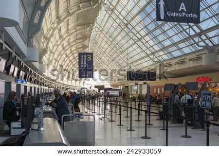 TORONTO,CANADA-JUNE 23,2014: Toronto Pearson International Airport also known as Lester B. Pearson International Airport or simply Pearson Airport, it is the largest and busiest airport in Canada - stock photo