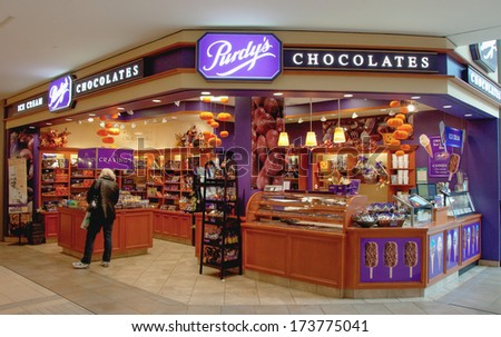 TORONTO,CANADA-MARCH 30, 2012: Purdy's Chocolate Store. Purdys Chocolatier is a Canadian chocolatier and retail operator. The company is based out of Vancouver, British Columbia. - stock photo