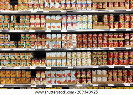 TORONTO, CANADA - MAY 06, 2014: Canned food products in a supermarket. Canned foods consumption has declined in North America as the economy improves and consumers spending more on fresher food items. - stock photo
