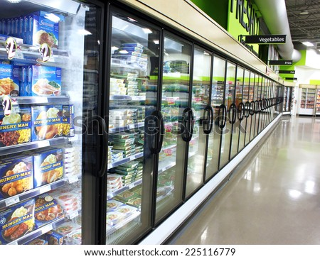 TORONTO, CANADA - MAY 06, 2014: Frozen foods in a supermarket in Toronto, Canada. In North America, consumption of frozen food has increased in recent years, mostly due to people's busy lifestyle. - stock photo