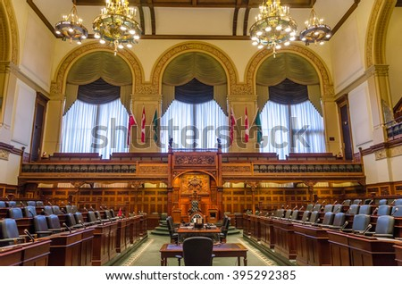 Toronto, Canada - 26 may 2013: Interior of Queen's Park legislative buildings.  Designed by architect Richard A. Waite; its construction begun in 1886 and it was opened in 1893.