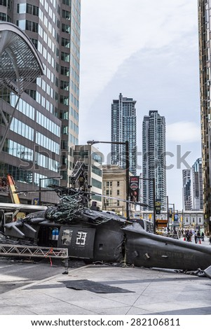 TORONTO, CANADA - MAY 24 2015 : The Film Set for the Suicide Squad Movie has shut down part of Downtown Toronto to vehicle traffic surrounding Bay and Front St, Toronto Canada.