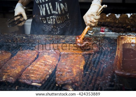 TORONTO,CANADA-MAY 22,2016: Yonge-Dundas Square Rib Fest and BBQ Bash: Traditional meat lovers festival featuring the best teams from Canada and the U.S.