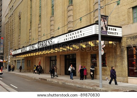 TORONTO, CANADA - NOV 30:  Historic Maple Leaf Gardens, closed since 1999, was reopened to the public as a retail center and a future athletic center for Ryerson University on  Nov 30, 2011 in Toronto, Canada. - stock photo