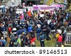 TORONTO, CANADA – NOV 19:  Occupy protesters gather in front of City Hall to protest Mayor Ford's proposed cuts and his attempt to evict them from Saint James Park Nov 19, 2011 in Toronto. - stock photo