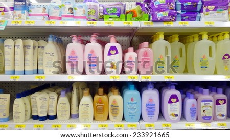 TORONTO, CANADA - NOVEMBER 22, 2014: Soaps and shampoos for kids and babies in a supermarket in Toronto, Canada. - stock photo