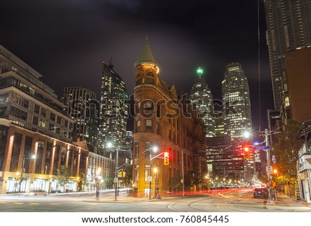 Toronto, Canada - Oct 13, 2017: Historic Gooderham Building (also known as flatiron building) in the city of Toronto. Province of Ontario, Canada