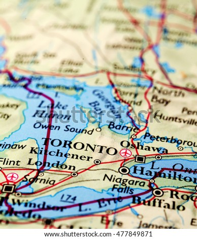 Toronto Canada, on atlas world map