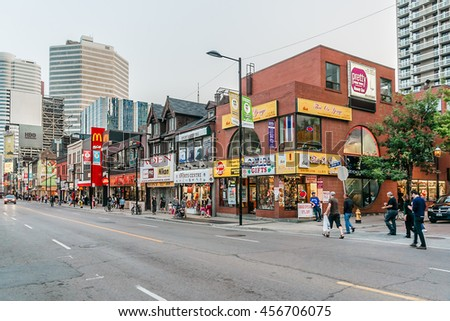 TORONTO, CANADA, ON - 24 JULY, 2014: Street view of downtown Toronto. Toronto is the 5th largest city in North America.